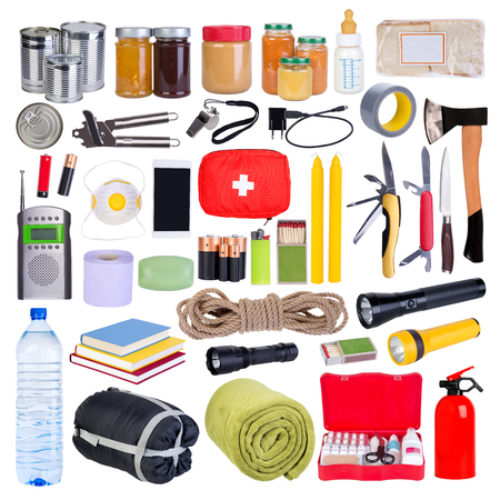Objects useful in emergency situations such as natural disasters 스톡 콘텐츠