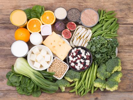 Calcium food sources, top view Zdjęcie Seryjne