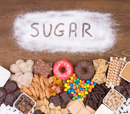 Too much sugar in food concept Stock Photo