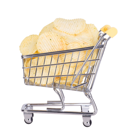 Potato crisps in a shopping cart isolated on white background