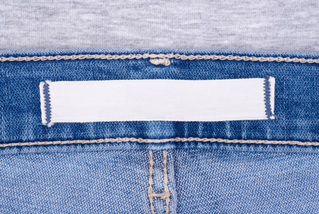 Blank label on blue jeans