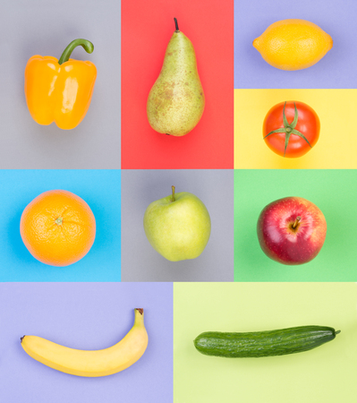Fruits and vegetables on colorful backgrounds