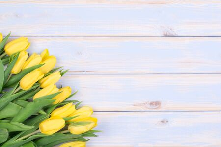 Yellow tulips on wooden background with copy space