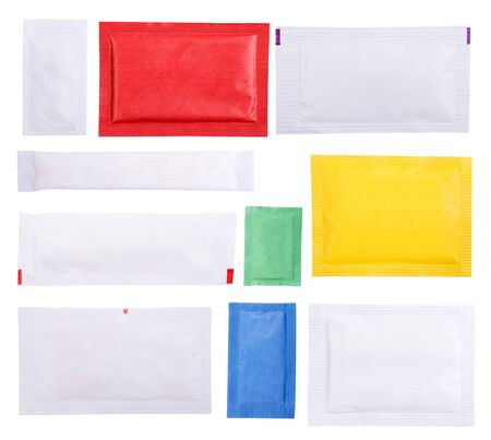 Paper sugar sachets isolated on white background Stock Photo