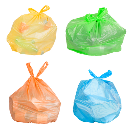 Bags with waste sorted for recycling