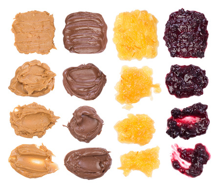 Chocolate, peanut butter and jelly on white background Stock Photo