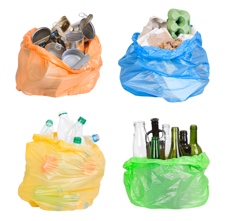 Open plastic bahs with rubbish prepared for recycling