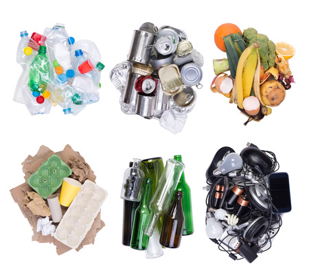 Piles of sorted waste isolated on white background, top view
