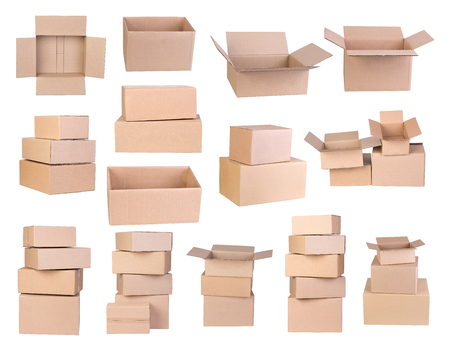 Cardboard boxes isolated on white background Stock Photo