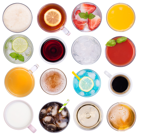 Cold and hot drinks variety top view, isolated on white background