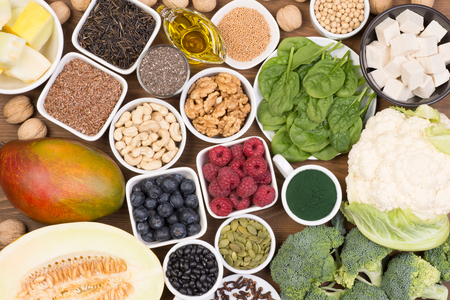 Vegan sources of Omega 3 fatty acids in healthy diet Stock Photo