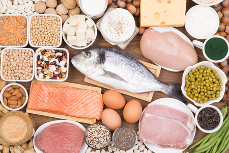 Various sources of protein in a healthy diet, such as fish, meat dairy, legumes and other Foto de archivo - 115688019