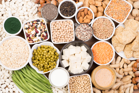 Protein in vegan diet. Food sources of vegan protein Stock Photo