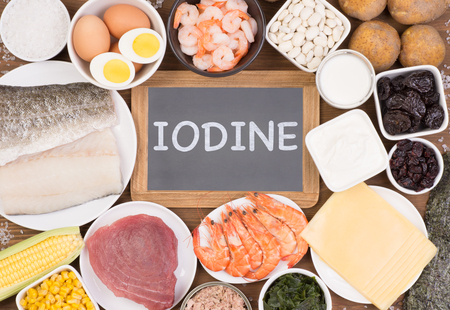 Food rich in iodine. Various natural sources of vitamins and micronutrients Stock Photo
