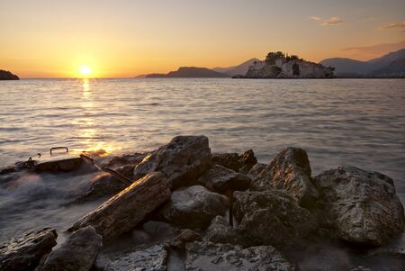 Montenegro, St. Stefan island at sunset