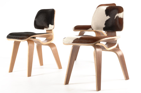 three calfskin and plywood chairs Imagens