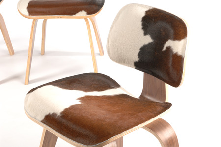 calfskin and plywood chair detail