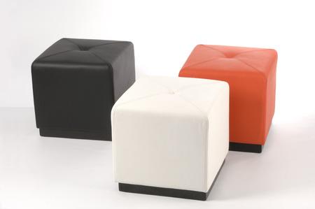 pouf: three colored poufs
