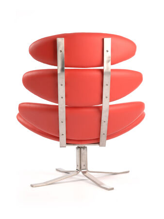 xx century: back view of a modern red corona armchair