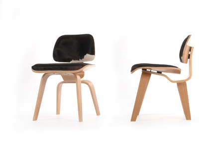 2 views of a modern plywood chair