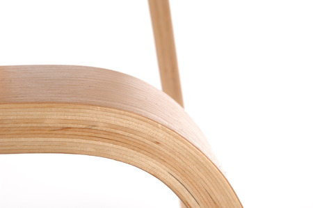 detail of  a modern plywood chair