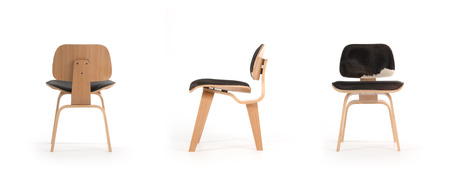 3 views of a modern plywood chair