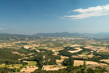 of pano: landscape of the Conca de Barbera. Tarragona. Prades mountains in the background Stock Photo