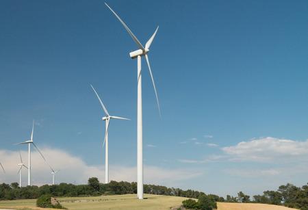 eolian: windmill park at conca de barbera. Tarragona. Spain