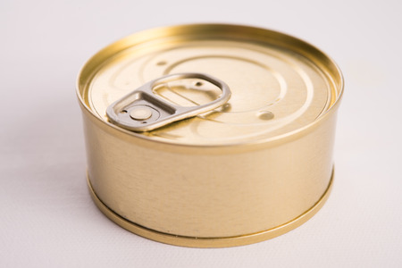 tin: macro of tuna tin can Stock Photo