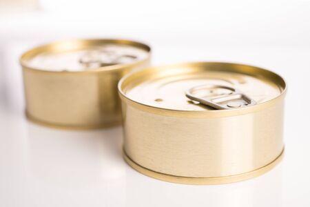 tin cans: macro of two tin cans tuna
