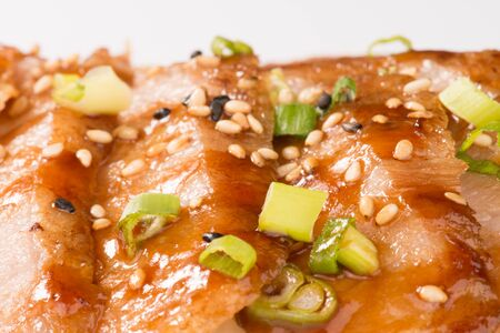 secreto iberico 매크로입니다. 돼지 고기 요리 스톡 콘텐츠