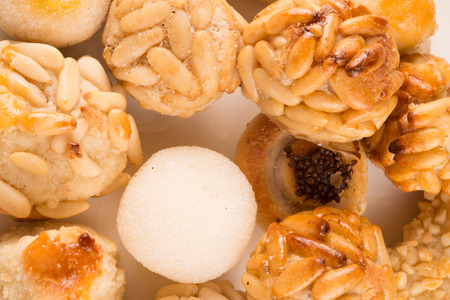 panellets: panellets varied, typical of Catalonia. Almond and pine nut pastries. traditional recipe