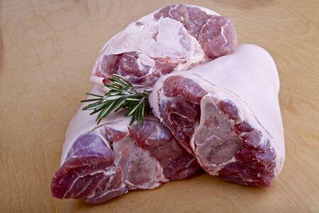 shank: Raw pork shank on table