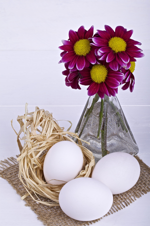 Easter decoration on a light background photo