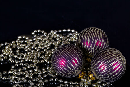 Christmas ornaments on a black background Stock Photo