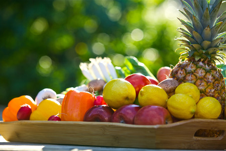 Assorted raw organic fruits and vegetables