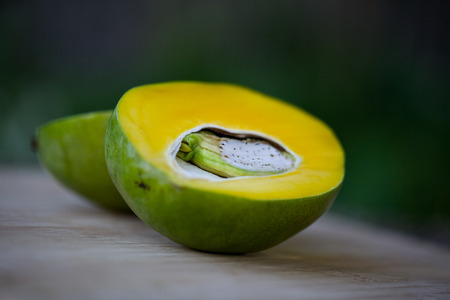 from halves: Two halves of mango