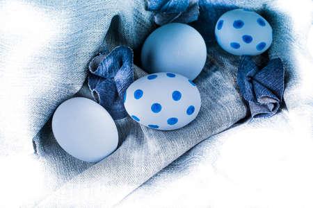 denim fabric: Eggs on a denim fabric.