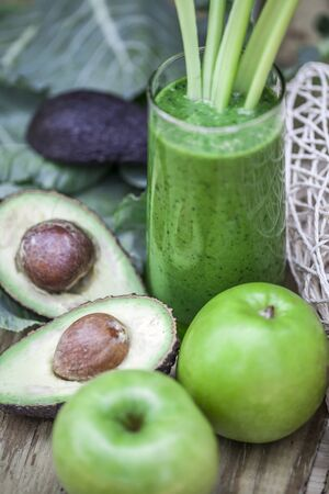 green vegetable: Healthy green smoothie with fresh fruit and vegetables. Stock Photo