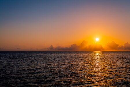 Spectacular sunset on Caribbean sea