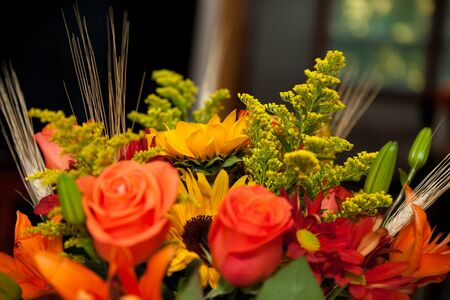 Bouquet of various fresh colorful flowers o na blurred background Stok Fotoğraf