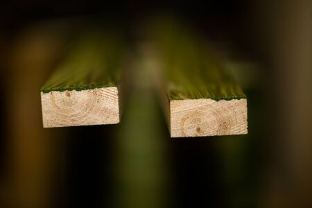 Two pieces of impregnated wooden panels, focused image