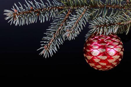 One christmas bauble on a fir twig, black background Stok Fotoğraf