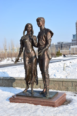 Astana, capital of Kazakhstan - Statue featuring a loving couple