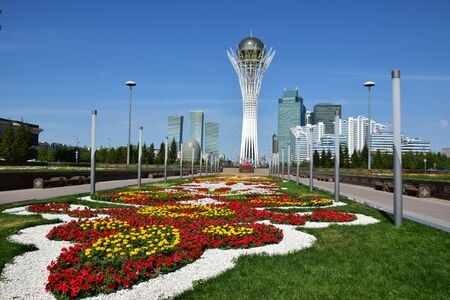 View of the BAITEREK tower in Astana, capital of Kazakhstan
