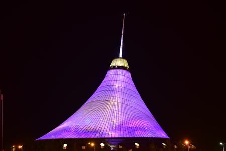 Astana, capital of Kazakhstan - the KHAN SHATYR entertainment center at night