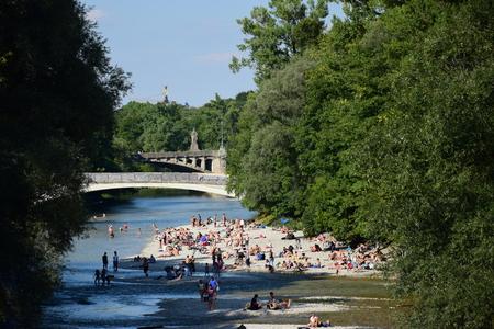 Vista em Munique, Baviera, Alemanha Foto de archivo - 76806432