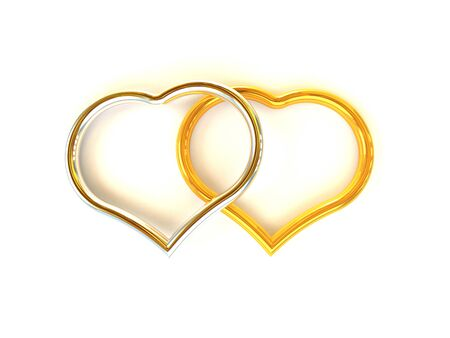 put together: Heart gold and silver put together  Stock Photo