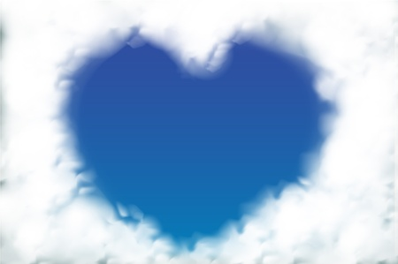 Heart from cloud in the blue sky  Vector