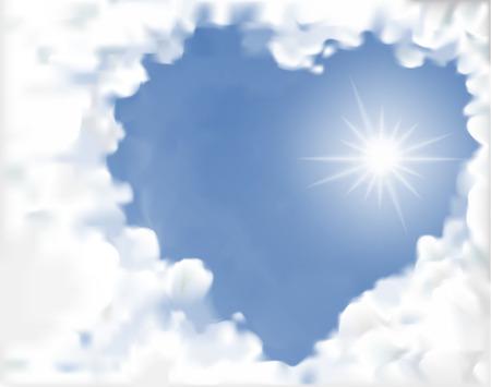 himlen: moln hjärta och sol stråle